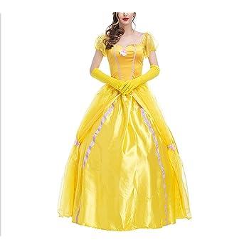 Jeune Mitefu Costume de Cosplay Adulte La belle et la Bête Jaune Robe de EP-79