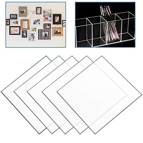 Froadp 5 Stück Polycarbonatplatte UV-beständigem Plexiglas Bord Massivplatte Schneidbar Transparent Bauglas für Garten Treibhaus DIY Zubehör Modellbau(400x400x2mm)