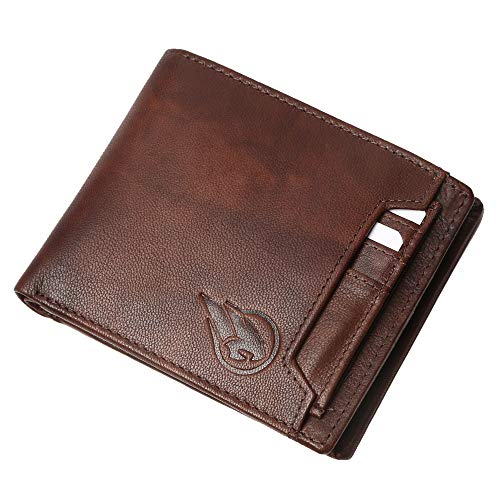 Ruge RFID Blocking Genuine Leather Men's Wallet and Credit Card Holder - Antique Brown (Combo)