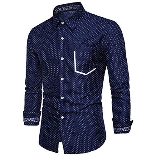 Loeay Tops Personalidad para Hombre Camisa de Estilo Casual Hombres Patrón de...