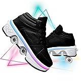YXRPK Niños Niña LED Luces Zapatos 7 Colores Luminosas Deformación Patines De Ruedas Multifunción Ajustable Zapatos De Skate Zapatos de Deportivo al Aire Libre