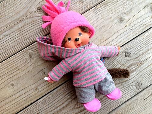 Puppenkleidung handmade für MONCHICHI Gr. 20 cm MONCHHICHI Bekleidung Kapuzenshirt Hoodie Winterset 4-teilig pink + flanellgrau Kleidung Puppenkleidung