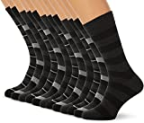 FM London Argyle, Calcetines para Hombre, Negro (Striped), 39-45 EU (Talla del fabricante: UK 6-11), (Pack de 12)