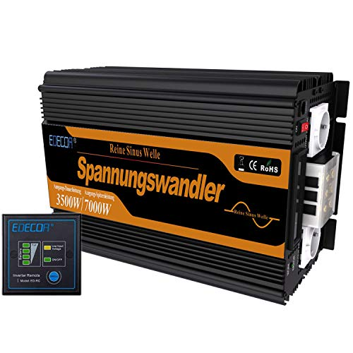 EDECOA Inverter 12v 220v ONDA PURA inverter di potenza 3500w con TELECOMANDO 2x USB per roulotte, pannelli solari Convertitore di pontenza 12v 230v