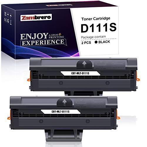 Zambrero D111S Toner Kompatibel mit Samsung MLT-D111S MLT-D111L für Toner Samsung Xpress M2070 M2070W M2070FW M2026W M2026 M2022W M2020 M2070F SL-M2070W SL-M2026W SL-M2026 M2022 M2020W (2 Schwarz)