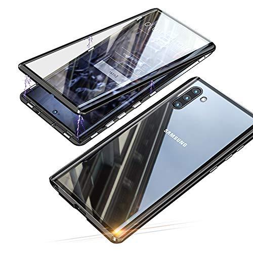 Jonwelsy Funda para Samsung Galaxy Note 10 (6,3 Pulgada), Adsorción Magnética Parachoques de Metal con 360 Grados Protección Case Cover Transparente Ambos Lados Vidrio Templado Cubierta (Negro)