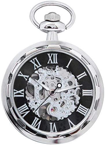 GUIPING Reloj de Bolsillo, Reloj de Bolsillo de Ruedas Punk, Relojes Retro Mecánicos, Relojes de Bolsillo Hombres Y Mujeres Huecos