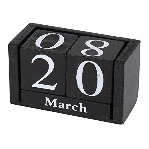 Atyhao Kalenderblock, Vintage Holz Perpetual Desk Kalender Holzwürfel Kalender Monat Datum Anzeige Home Office Dekoration(Black)
