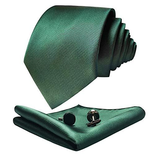 CANGRON Corbata Extra Larga Verde Oscuro para Hombre 160 cm de largo con corbata con bolsillo cuadrado Gemelos Caja de regalo DLSCLSL