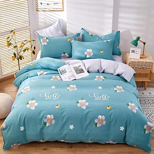 CYGJ Four-piece set of hypoallergenic cotton comfortable beddingBlue flowers 3 2.0m four-piece set
