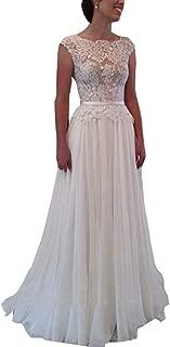 Women's Sleeveless Round Collar Chiffon Applique Wedding Dresses