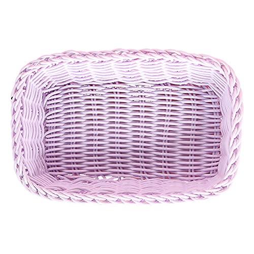 WHDJ Cesta de Frutas Rectangular en Forma de corazón, frutero Tejido de ratán Hecho a Mano para Regalo de inauguración de la casa, Pan y refrigerio(Rec Purple)