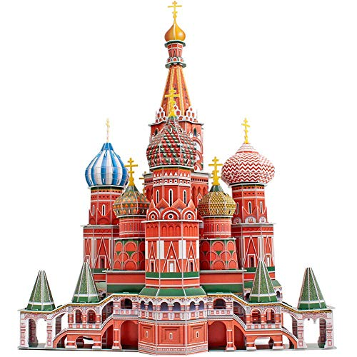 CubicFun 3D Cathedral Puzzles Russia Architecture Building Church Model Kits Toys for Adults, St.Basil's Cathedral, 184 Pieces