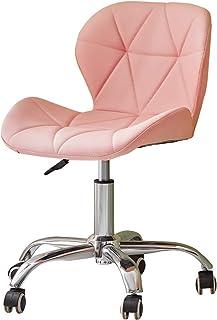 CLIPOP Silla de oficina giratoria de color rosa con altura ajustable y patas cromadas y ruedas giratorias, escritorio de ordenador de piel sintética para el hogar, oficina, sala de estudio