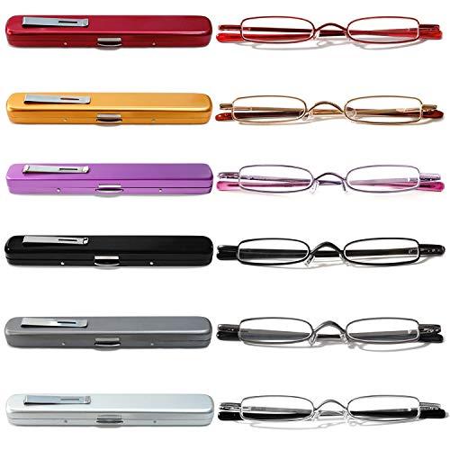 VEVESMUNDO Lesebrillen Schmal Metall Federscharnier Klassische Damen Herren Klein Mini Leicht Lesehilfe Sehhilfe Brillen mit Etui 1.0 1.5 2.0 2.5 3.0 3.5 4.0 (6 Stück Lesebrillen, 3.0)