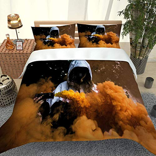PKTMK Bedding Duvet Cover with 2 Pillowcases Printed Yellow smoke landscape Quilt Cover Set with Zipper Closure Anti-allergic Bedding For Kids adult Double 200x200cm
