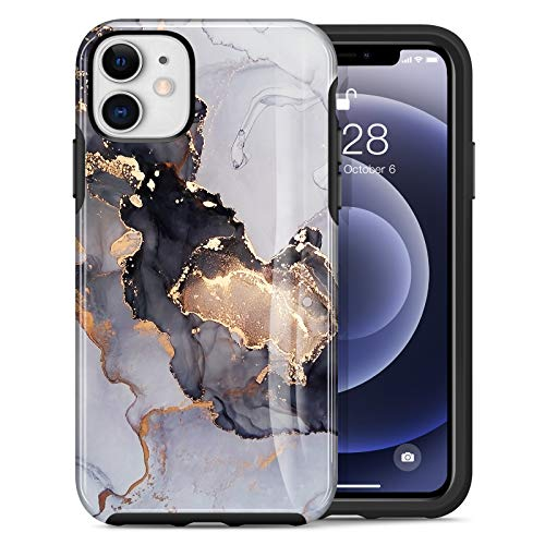 Dutyway Compatible with iPhone 12 Case, Compatible with iPhone 12 Pro Case 6.1 inch, Marble Slim Thin,Shockproof Anti-Fall Soft TPU + Hard PC Protective Phone Case-Black Marble (Without Gold Powder)