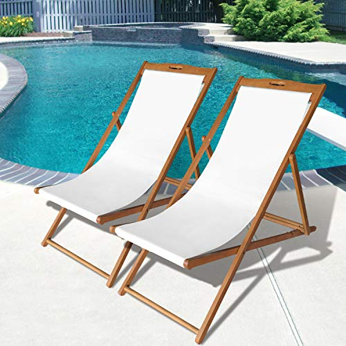 Beach Sling Chair Set Patio Lounge Chair Outdoor Reclining Beach Chair Wooden Folding Adjustable Frame Solid Eucalyptus Wood with White Polyester Canvas 3 Level Height Portable Set of 2,Natural Oiled