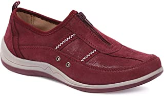 Pavers Womens Casual Leather Trainers Shoes Zip Arch Support Casual Shoes