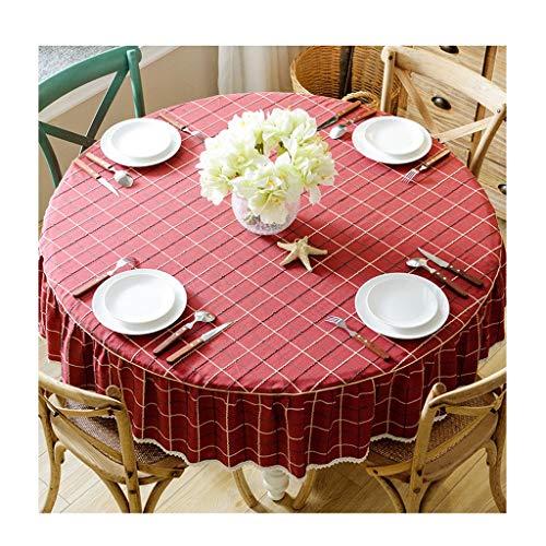 Tafelkleed grote ronde geruit wasbaar 170cm geruite tafelkleed voor diner, Kerstmis, vakantie of dagelijks gebruik ZXY