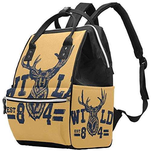 Wild Animal Vintage Deer Pañal Bolsa Mochilas para portátil Mochila para portátil Viaje Senderismo Mochila para Mujeres Hombres