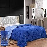 Herzberg Home und Living Doppelbett, Bedruckt, Steppdecke hochwertiger Mikrofaser – Öko-Tex-Standard 100 – zweifarbig 200 x 200 cm blau – Herzberg HG2020BCO-BLU, Polyester