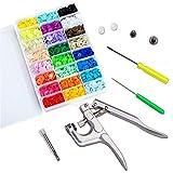 BoFeite 400 Botones 24 Colores Snaps Plástico T5 Botones Redondos Snap de Presión con Alicates Botones Presion para DIY Manualidades accesorios patchwork (T3 T5 T8)