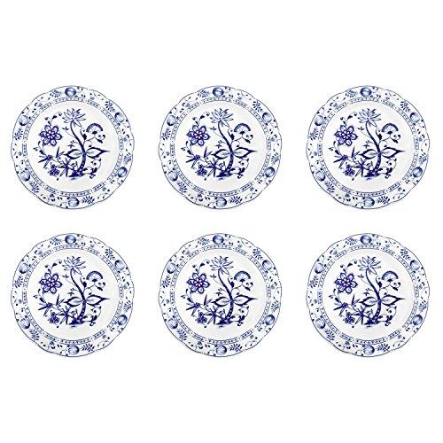 Triptis 1350380670024116 Romantika Zwiebelmuster Speiseteller, Ø 23,5 cm, Porzellan, weiß/blau (6er Pack)