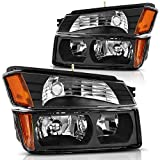 AUTOSAVER88 Headlight Assembly Compatible with 2002 2003 2004 2005 2006 Chevy Avalanche Pickup with Body Cladding Models, Black Housing