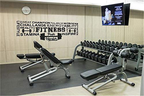 pegatinas de pared espejo Fitness Gym Etiqueta Fitness Palabras Desafío Energía Habilidad Para Gimnasio