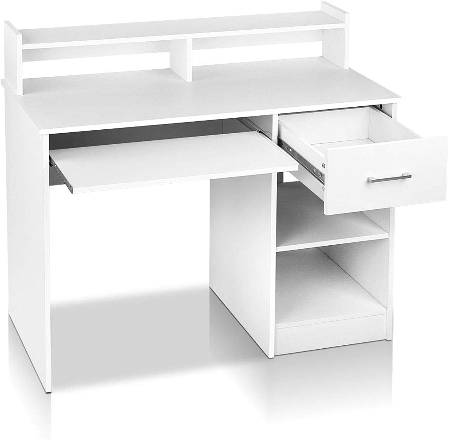 Artiss Office Computer Desk Wooden Home PC Gaming Study Table with Book Display Shelf White