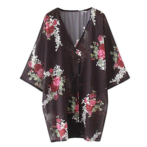 Womens Chiffon Loose Long Shawl Coat,Beach Cover Up Swimwear Blouse Bikini Cardigan