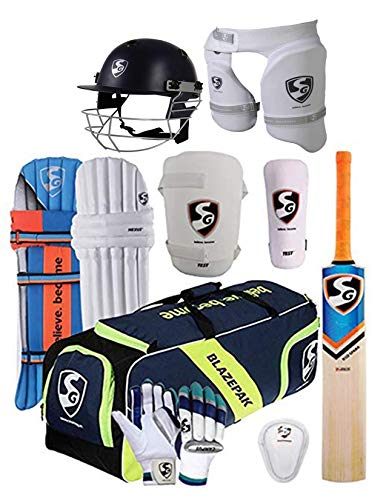 SG 100% Original Brand Blazepak Champion Cricket Kit (Cricket Bat (with Cover) + Legguard + Batting Gloves + Kitbag + Thigh Guard + Arm Guard + Abdo Guard + Cricket Helmet Large)