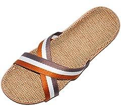 HRFEER Men Slippers Silent Floor House Slipper Lightweight Linen Summer Beach Shoes for Men/'s Sandals