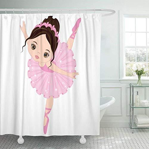 JOOCAR Design Duschvorhang, Balletttänzerin, süßes kleines Ballerina, rosa Kleid, Cartoon-Tänzerin, wasserdichter Stoff, Badezimmer-Dekor-Set mit Haken