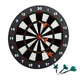 Relaxdays 10021463 Gioco Bersaglio Freccette Soft 42 cm, 6 Frecce, per Bambini, Montaggio a Muro, Piedistallo, Bianco-Nero