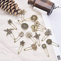 NBEADS 15 Pcs Retro Mixed Shaped Vintage Alloy Safety Brooch Pins, Mixed Sizes Decorative Hijab Pins Safety Steampunk Findings for Sweater Scarf Cloth Garment Bag Hat Cardigan Decor #4