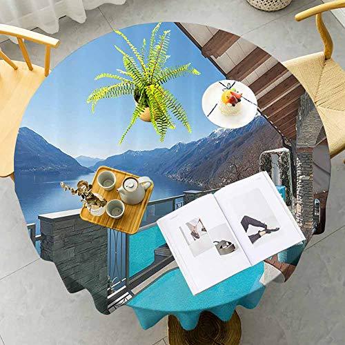 House Decor Collection - Mantel redondo para terraza con vistas a la piscina y al lago, para casa, balcón, ocio, vacaciones, diseño sin costuras, color azul, diámetro de 47 pulgadas