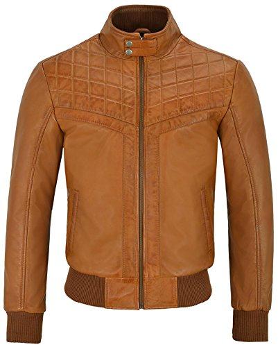 New Men's 4757 Tan Designer matelassée style années 70 bombardiers doux réel veste en cuir (UK 3XL / EU 58)