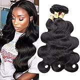Connie Brazilian Hair Bundles Body Wave 100% Human Hair 3 Bundles 16 18 20 Inch Weave Hair Human Bundles Natural Color 1B#
