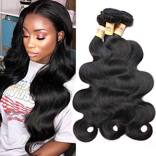 Connie Brazilian Hair Bundles Body Wave 100% Human Hair 3 Bundles 12 14 16 inch Weave Hair Human Bundles Natural Color 1B#
