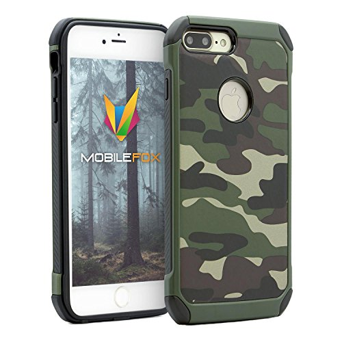 Mobilefox - Cover rigida con motivo mimetico per Apple iPhone 7 Plus, colore: Verde
