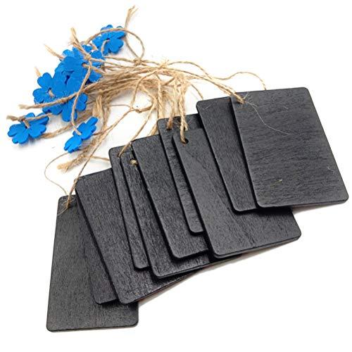 ULTNICE 10 stück Mini Hängend Tafel Holz Schiefertafel Tags für Message Board Zeichen (Blaue Blüten)