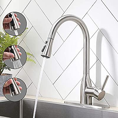 VESLA HOME Modern Commercial Stainless Steel Single Lever Pause Botton Pull Out Sprayer Kitchen Faucet, Brushed Nickel Kitchen Sink Faucet With Deck Plate