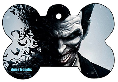 O2 Batman Harley Quinn Batgirl Joker Comic Art Design Custom Logo Dog Pet Cat ID Tag Bone Shape Personalized Key Ring (Joker)