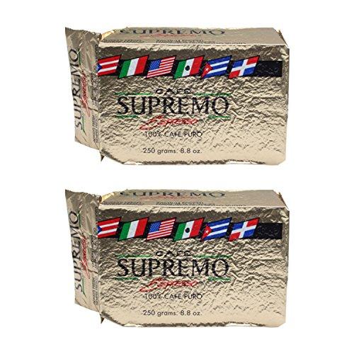 Café Supremo Espresso 100% Cafe Puro Brick 8.8 oz (Pack of 2)