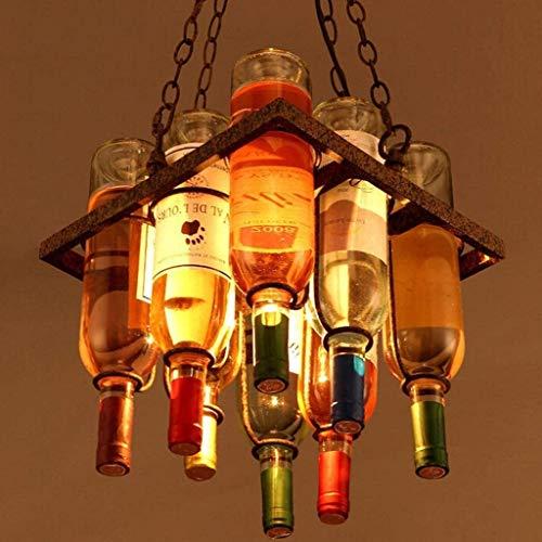 Jyeidn Creativa de Vino embotellado lámpara del Vintage Forjado Industrial Hierro luz Pendiente Garret Droplight Cafetería Comedor Bar Lámpara Colgante Antiguo Decorativo Retro Suspensión Luz
