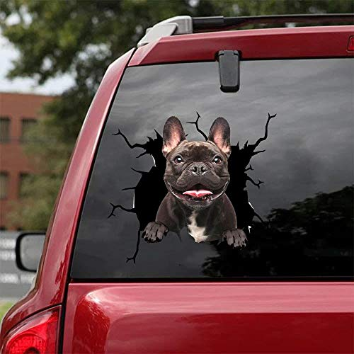 Ocean Gift French Bulldog Car Decals, Dog Car Stickers Pack of 2 - Realistic Frenchie Stickers for Car Windows, Walls Series 67 Size 8' x 8'