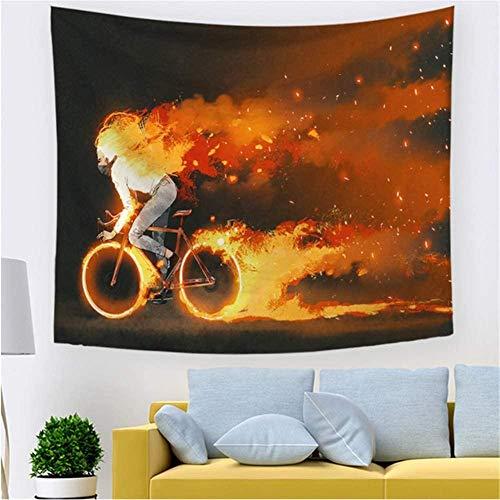 LDHHZ Tapiz Colgante de Pared Grande 3D Impresi¨n Multicolor Arte Hogar Dormitorio Decoraci¨n Tapices Indios Fire Girl Bike Mantel de Sala de Estar Picnic Beach Chal Bufanda 200x150cm