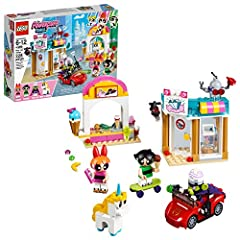 Build downtown Townsville with jewelry store and ice cream stand, plus a speedy getaway car with this Powerpuff Girls playset! This cute action-packed toy includes Blossom, Buttercup, Mojo Jojo, Donny the Unicorn toy, a robot figure, 2 buildings and ...